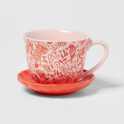 2pc Stoneware Red Print Cup and Saucer Set - Opalhouse™