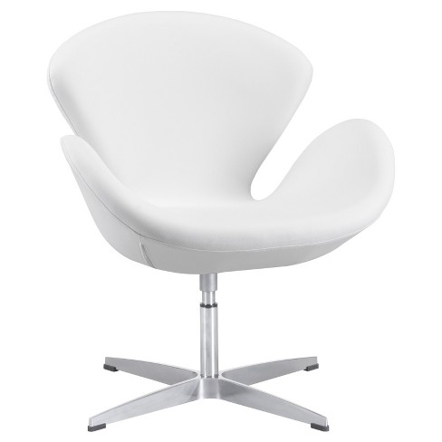 Curved Modern Upholstered Arm Chair - White - Zm Home - image 1 of 5
