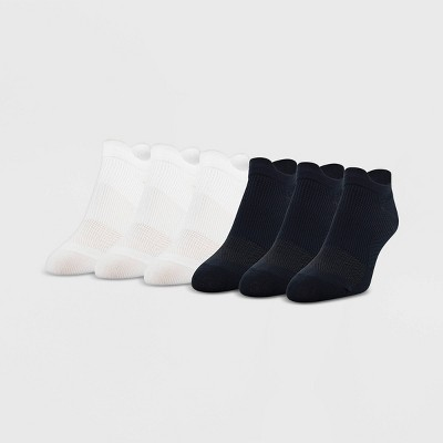 Peds Women's 6pk Ultra Low No Show Tab Liner Casual Socks - White/Black 5-10