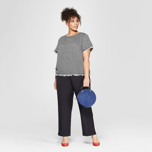d387ba26dcb809 Women's Plus Size Short Sleeve Boxy Tweed Blouse - Who What Wear™ Black/ Cream 3X : Target