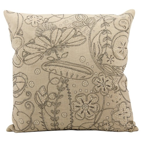 "Beige Luminescence Embroidery Throw Pillow (20""x20"") - Nourison - image 1 of 1"