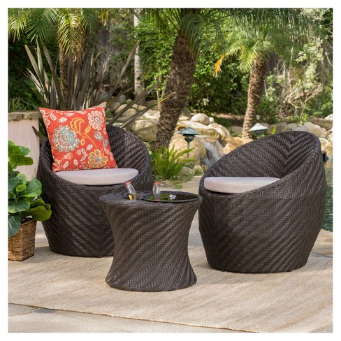 Belize 3pc All-Weather Wicker Patio Chair Set - Brown - Christopher Knight  Home - Belize 3pc All-Weather Wicker Patio Chair Set -... : Target