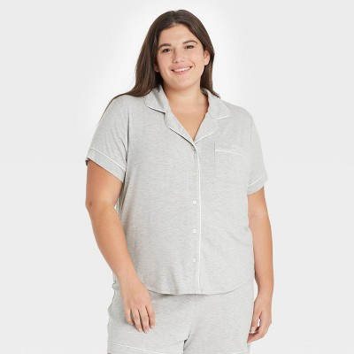 Women's Plus Size Beautifully Soft Short Sleeve Notch Collar Top and Shorts Pajama Set - Stars Above™ Gray 2X