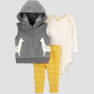 Baby Girls' 3pc Llama Pants Vest Hoodie Top & Bottom Sets - Just One You® made by carter's Mustard 9M