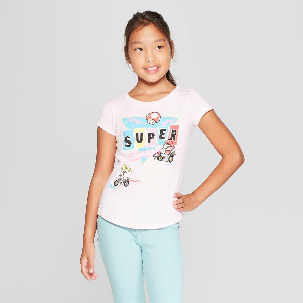 Girls' Super Mario Short Sleeve T-Shirt - Light Pink XL