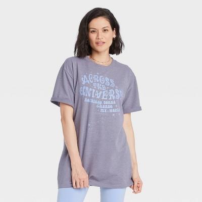 Women's Across the Universe Belt Short Sleeve Graphic T-Shirt Dress - Blue