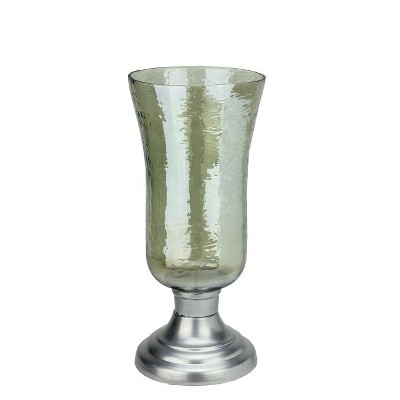 "Northlight 15.5"" Decorative Golden Luster Hurricane Pillar Candle Holder with Silver Base"