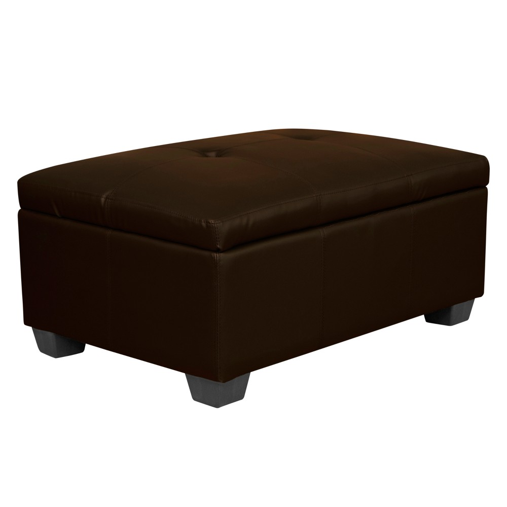 Heirloom Tufted Padded Hinged Ottoman - Leather Look - Epic Furnishings, Espresso Brown
