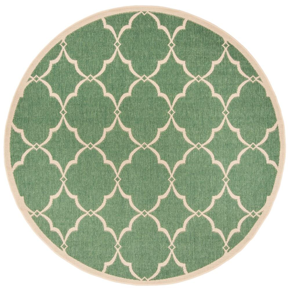 6'7 Geometric Loomed Round Area Rug Green/Cream (Green/Ivory) - Safavieh