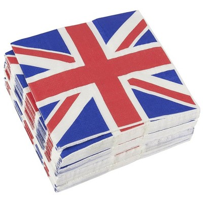 """Juvale 100-Pack UK Flag Disposable Paper Napkins Birthday Party Supplies 13x13"""""""
