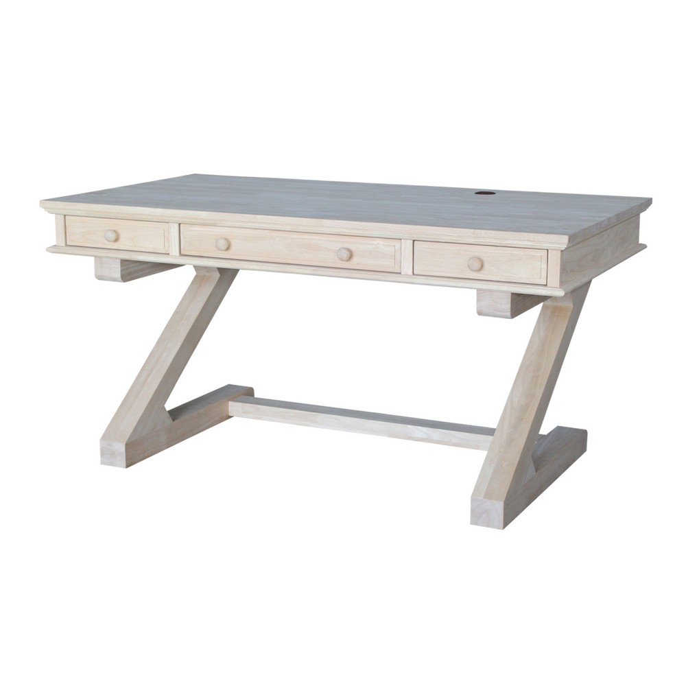 Executive Desk With Zodiac Base Unfinished - International Concepts