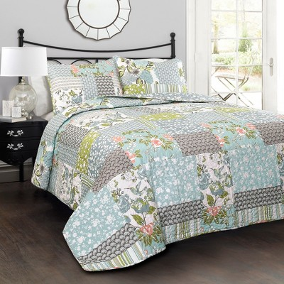 Blue Roesser Quilt Set - Lush Décor