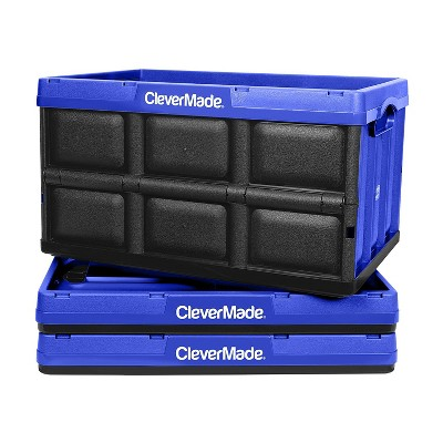 CleverMade Durable Plastic Stackable Organization 62L Collapsible Storage Bins, Royal Blue (3-Pack)