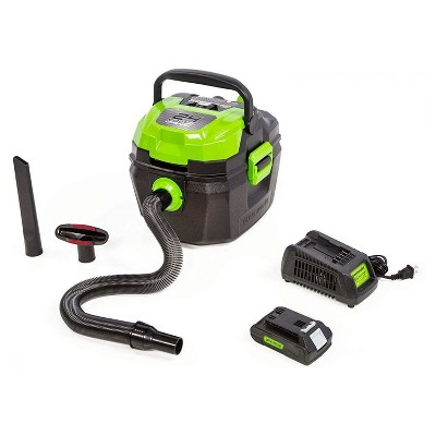 Greenworks 4700402 24 Volt Cordless 3 Gallon Wet Dry Shop Vacuum with Dual Battery Storage, Crevice And Floor Accessories, 2.0 Ah Battery