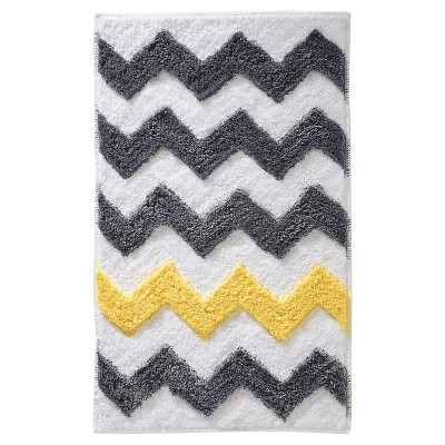 InterDesign Microfiber Rectangular Chevron Rug - Gray/Yellow, 34  x 21