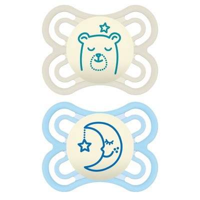 MAM Perfect Night Pacifier 2ct - White/Blue - 0-6 Months