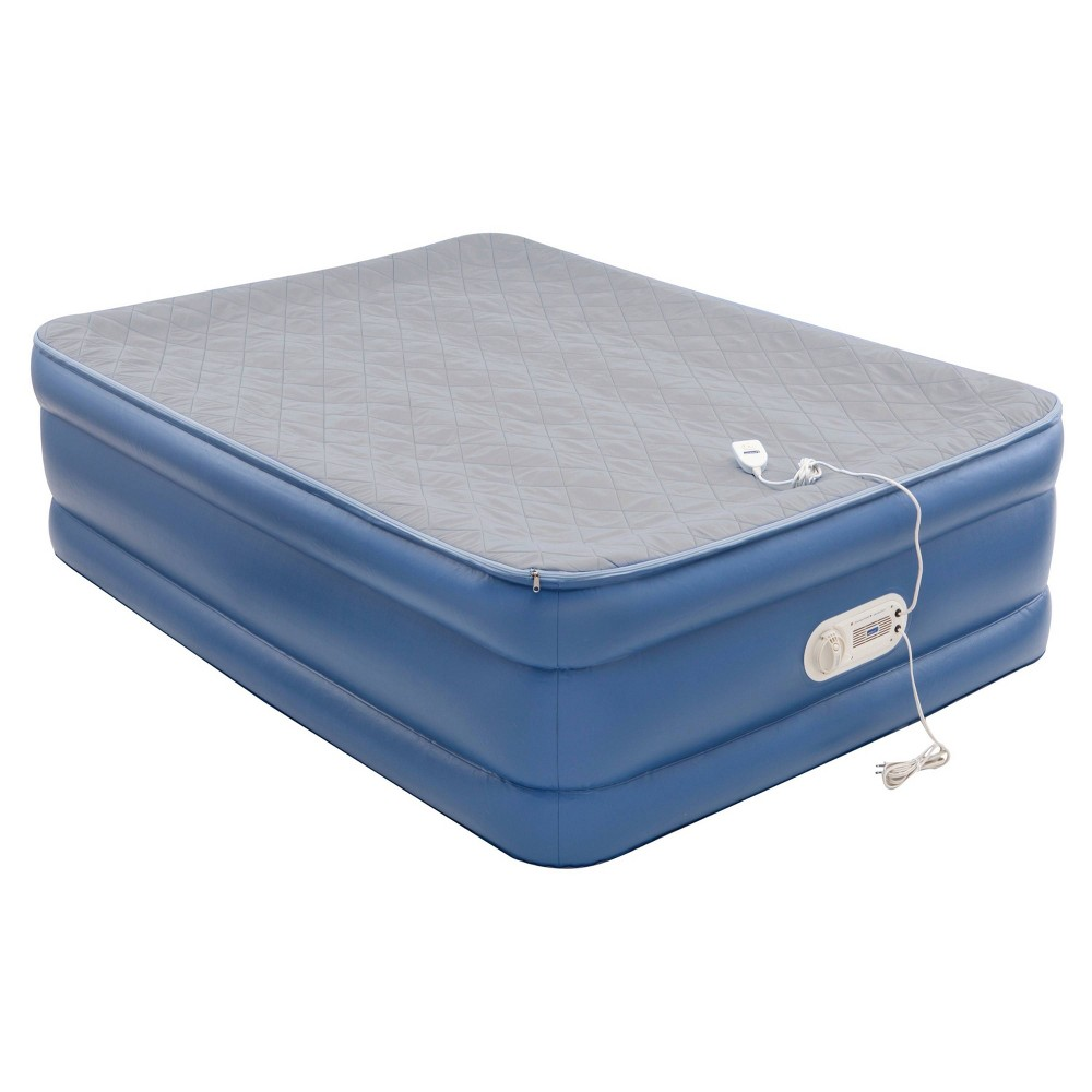 Image of AeroBed Quilted Foam Topper Double High Full Air Mattress with Built in Pump - Blue