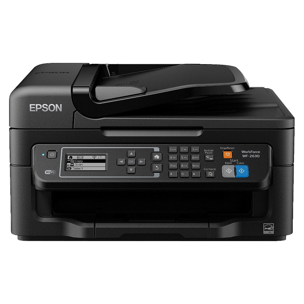 Epson WorkForce WF-2630 Wireless All-in-One Printer Perfect for home use, the Epson WorkForce WF-2630 All-in-One Color Inkjet Printer is a space-saving printer that brings you fast speeds and crisp, high-quality printouts. This wireless printer prints from tablets and smartphones and uses affordable individual ink cartridges.