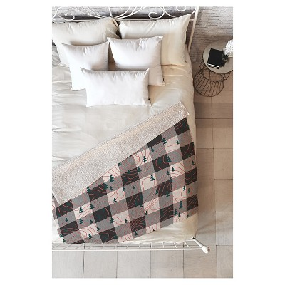 "Black Plaid Zoe Wodarz Nature Hike Sherpa Throw Blanket (50""X60"") - Deny Designs"