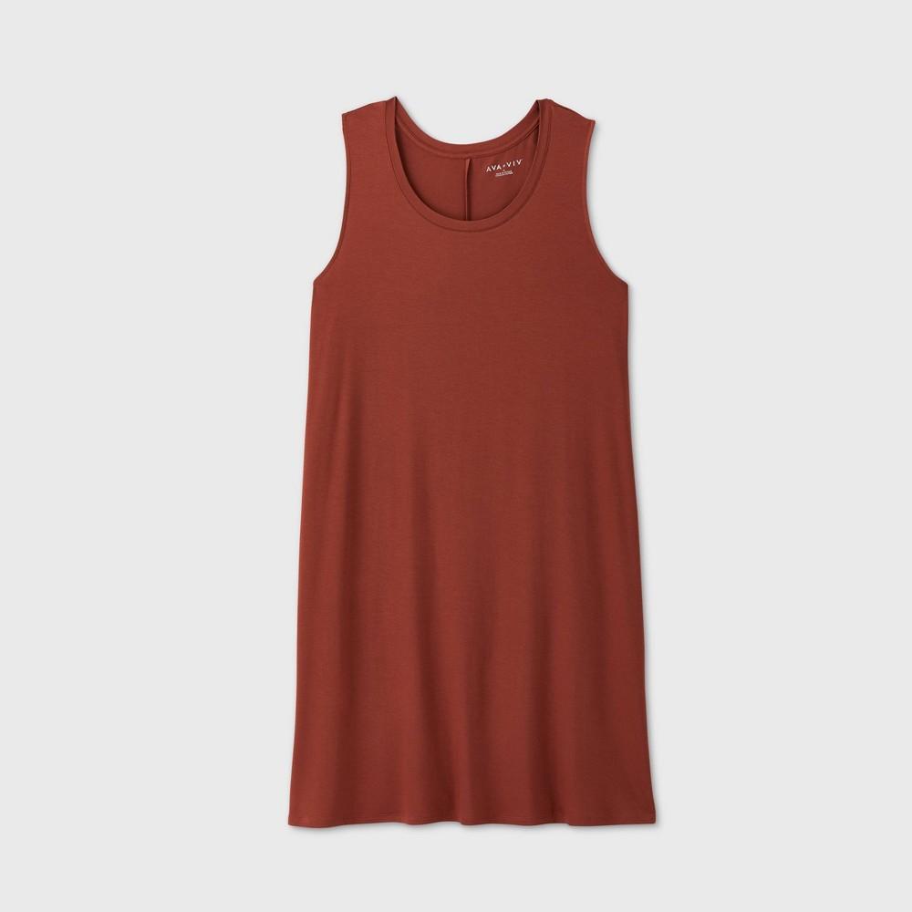 Women's Plus Size Sleeveless Swing Dress - Ava & Viv Brown 2X was $15.0 now $10.0 (33.0% off)