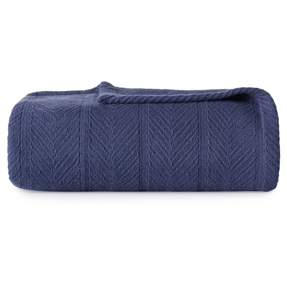 Image of Herringbone Cotton Blanket (King) Navy (Blue) - Eddie Bauer