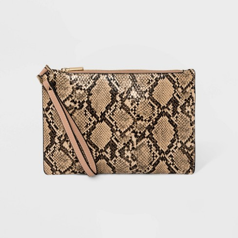 Classic Snakeskin Wristlet Pouch - A New Day™ Brown - image 1 of 2
