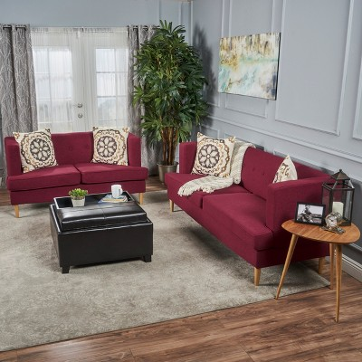 2pc Milton Mid Century Modern Sofa And Loveseat Set Deep Red   Christopher  Knight Home