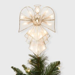 "11.75"" Lit Capiz Gold Angel Tree Topper - Wondershop™"