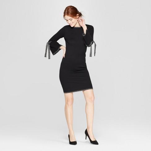 4cff669d33d Women s Shine Tie Sleeve Sweater Dress - Spenser Jeremy - Black Silver