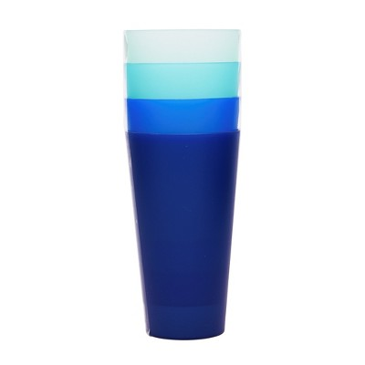 Plastic Tumblers 21oz Blue - Set of 4