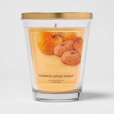 11.5oz Lidded Glass Jar Pumpkin Spice Donut Candle - Home Scents By Chesapeake Bay Candle