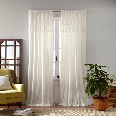 Calypso Macramé Tassel Cottagecore Semi Sheer Window Curtain Panel - Elrene Home Fashions