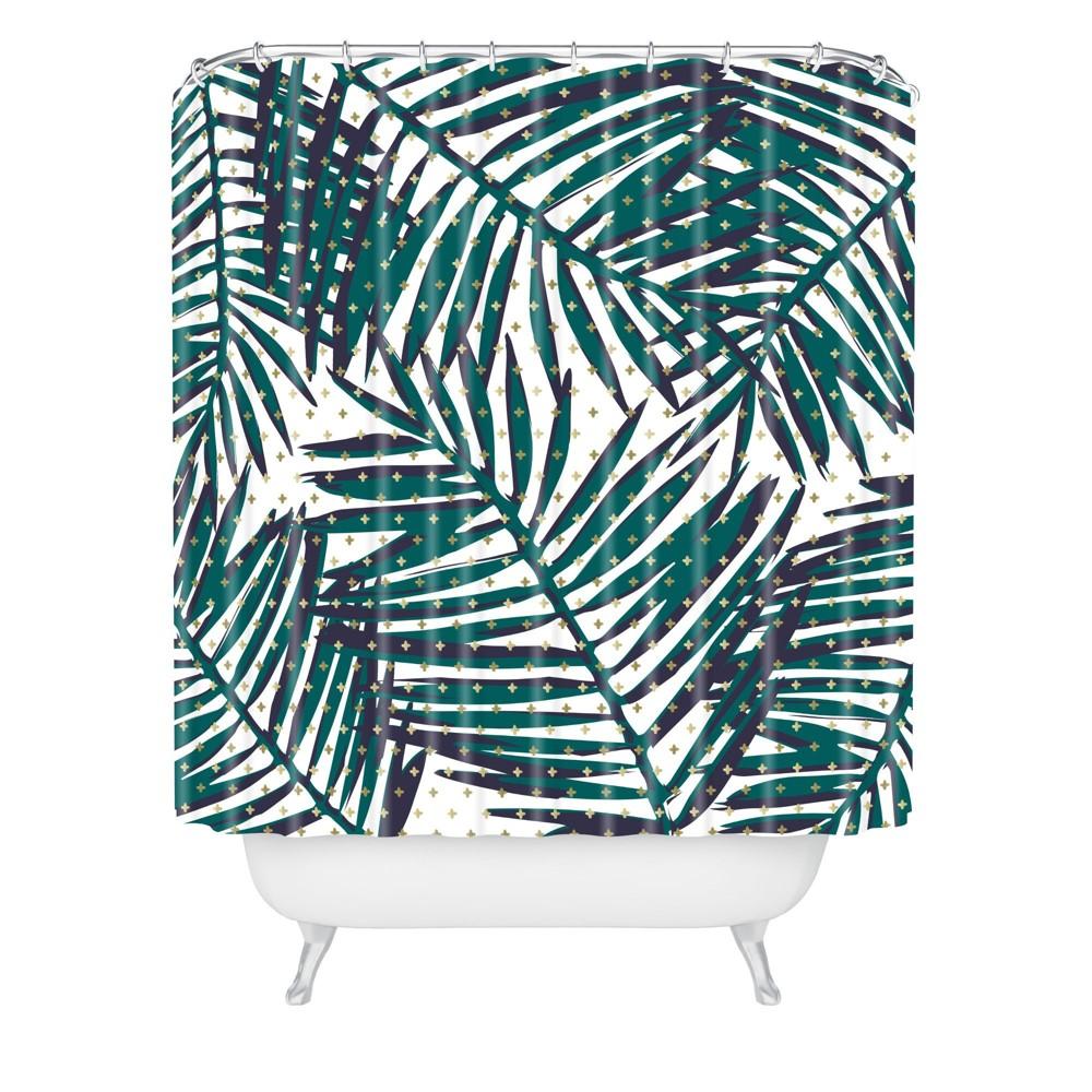 Zoe Wodarz The Palm Hotel Shower Curtain Green Deny Designs