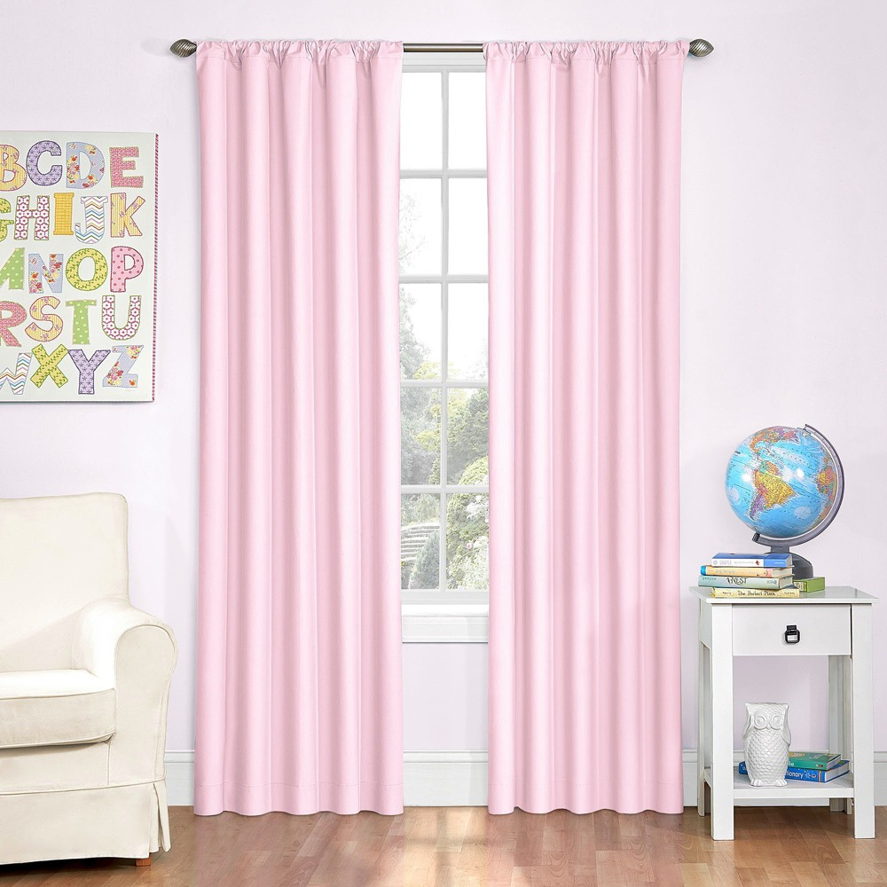 Microfiber Blackout Curtain Panel Pink (42