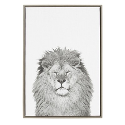 """23"""" x 33"""" Sylvie Lion Framed Canvas by Simon Te Tai Gray - Kate and Laurel"""