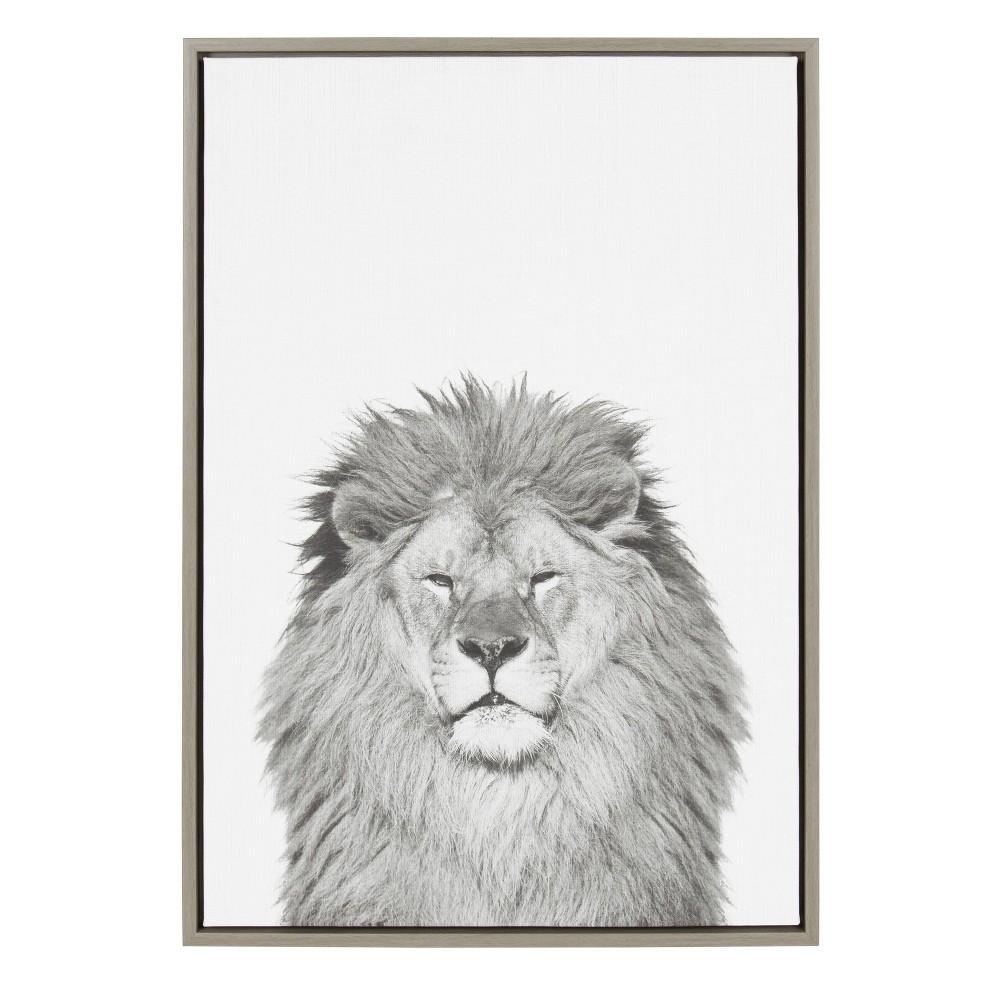 """Image of """"23""""""""x33"""""""" Slyvie Lion Framed Canvas By Simon Te Tai Gray - Kate and Laurel, Beige"""""""