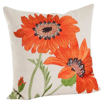 "18""x18"" Embroidered Flower Throw Pillow - Saro Lifestyle"