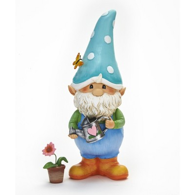 Lakeside Gnorm the Garden Gnome Decorative Lawn Statue with Flower Pot