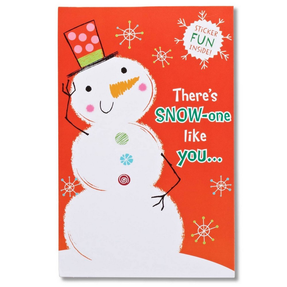 Snowman Christmas Card With Stickers, Multi-Colored