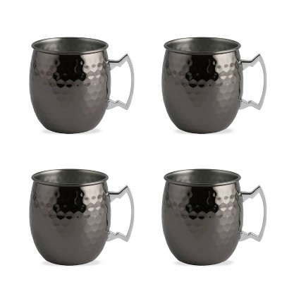 20oz 4pk Stainless Steel Moscow Mule Mugs Black - Cambridge Silversmiths