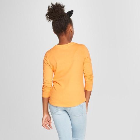 6fe05e670ec3c Girls  DC Comics Batman Halloween Flip Sequin Long Sleeve T-Shirt - Orange  XL Plus   Target