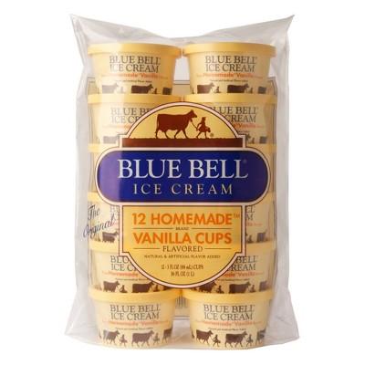 Blue Bell Homemade Vanilla Ice Cream Cups - 36oz/12ct
