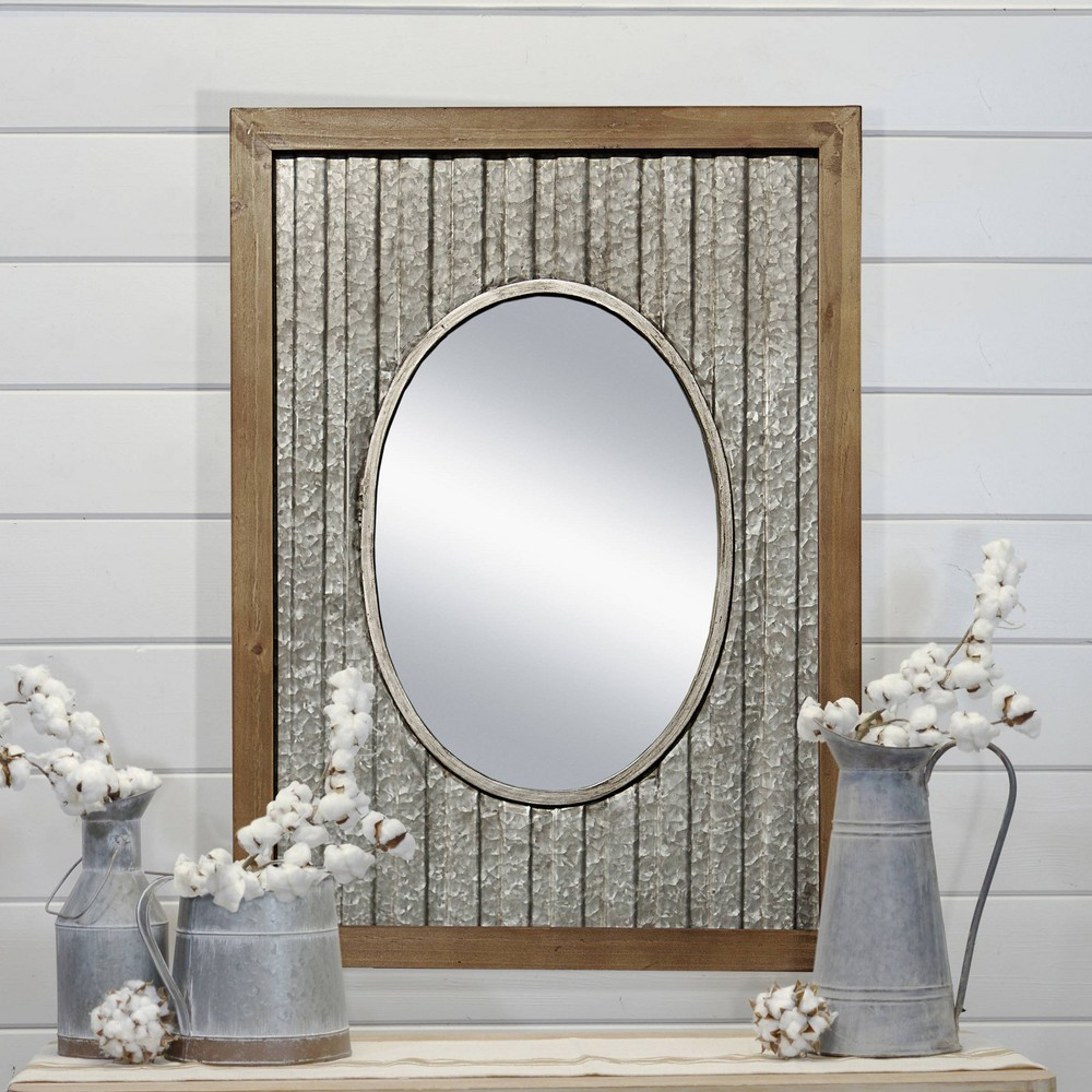 Wood Mirror 32 Inches Decorative Wall Mirror Light Gray 32