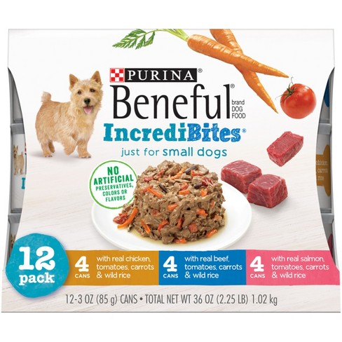 Beneful IncrediBites (Beef, Chicken, & Salmon Variety Pack) - Wet Dog Food - 3oz cans/12pk - image 1 of 5