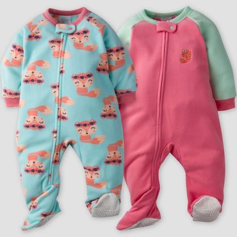 8d5a012082 Gerber® Baby Girls  2pk Fox Micro Fleece...   Target
