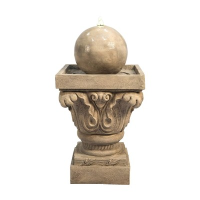"27.8"" Sphere Outdoor Fountain with LED Light Tan- Peaktop"