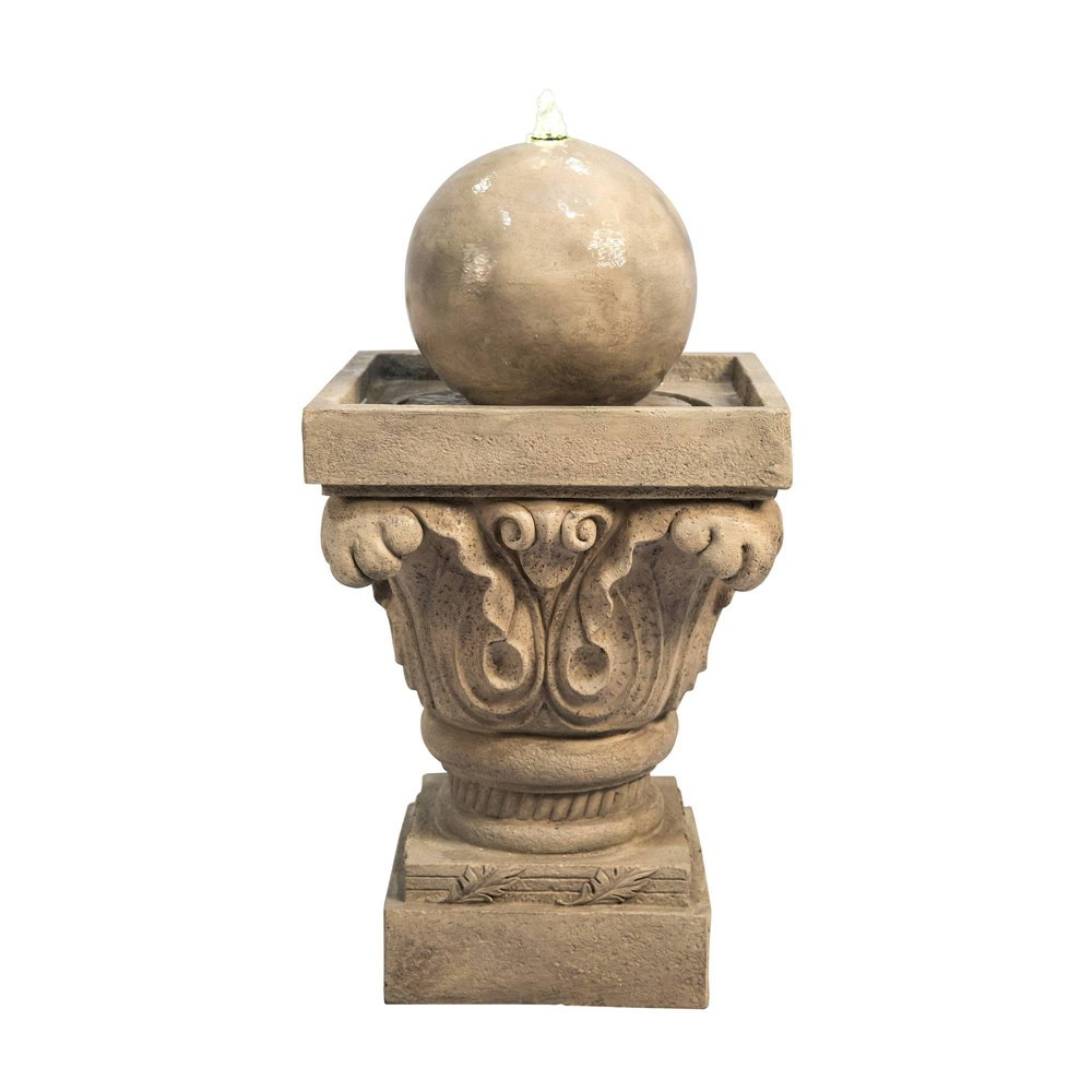 """Image of """"27.8"""""""" Sphere Outdoor Fountain with LED Light Tan- Peaktop, Beige"""""""