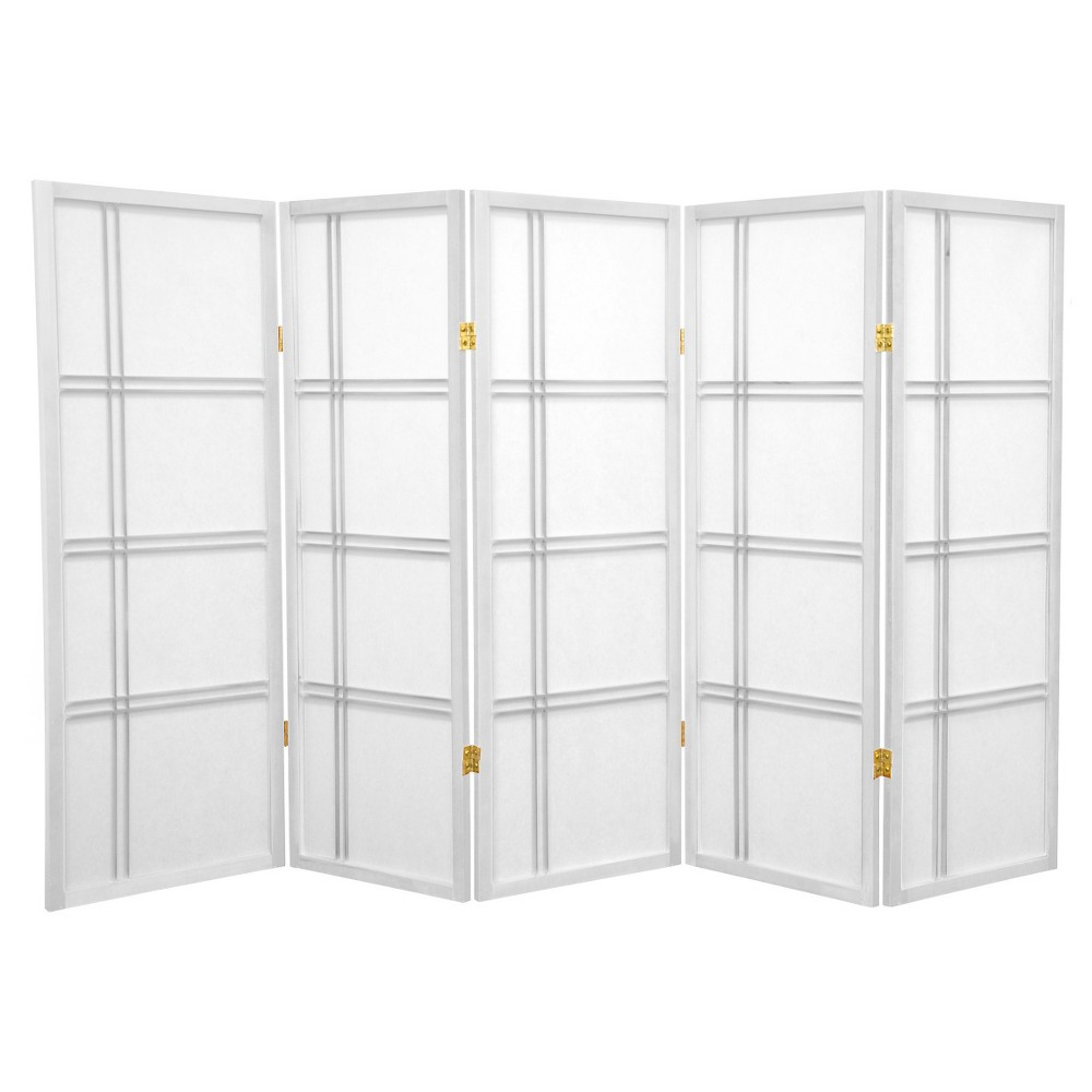 Image of 4 ft. Tall Double Cross Shoji Screen - White (5 Panels) - Oriental Furniture
