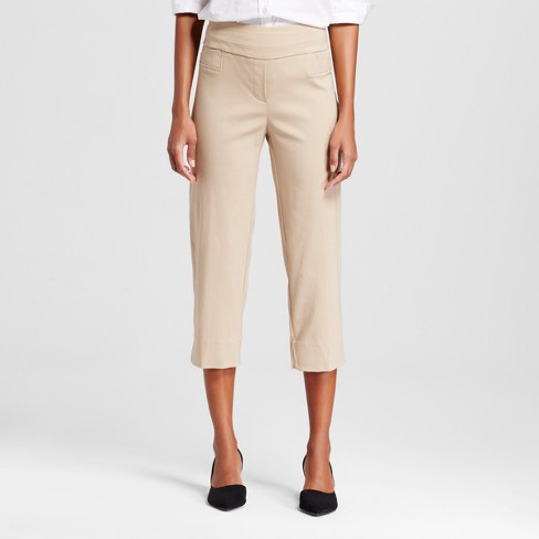 Women's Pull-on Two-Pocket Cropped Pants - Zac & Rachel - Chino 8 - image 1 of 2
