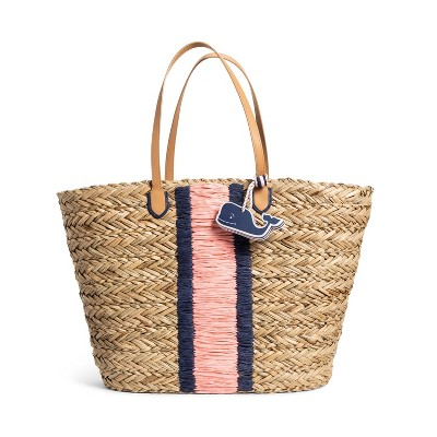 Straw Beach Bag with Whale Fob - Navy/Pink - vineyard vines® for Target